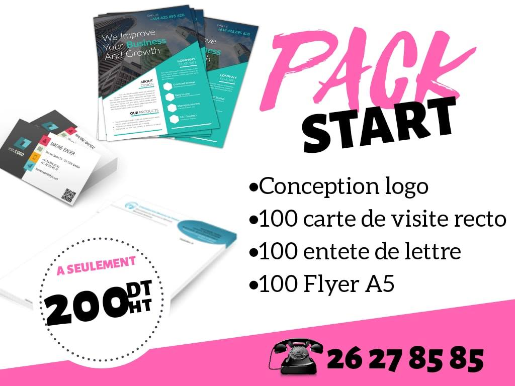 PACK STARTER (logo, carte visite , entete et flyer)
